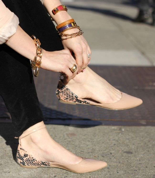 Naked girls flats shoes